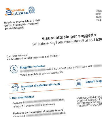Visura catastale per soggetto - Visura catastale per nominativo ...